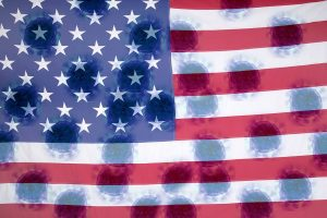 American flag with blots