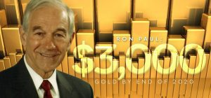 Ron Paul in front of a bunch of gold