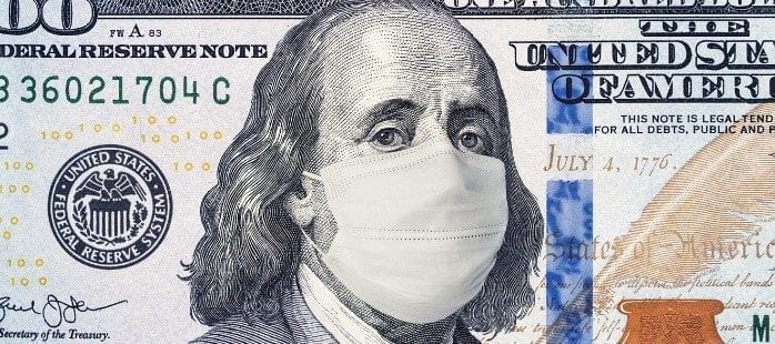 100 dollar bill with ben franklin wearing a mask