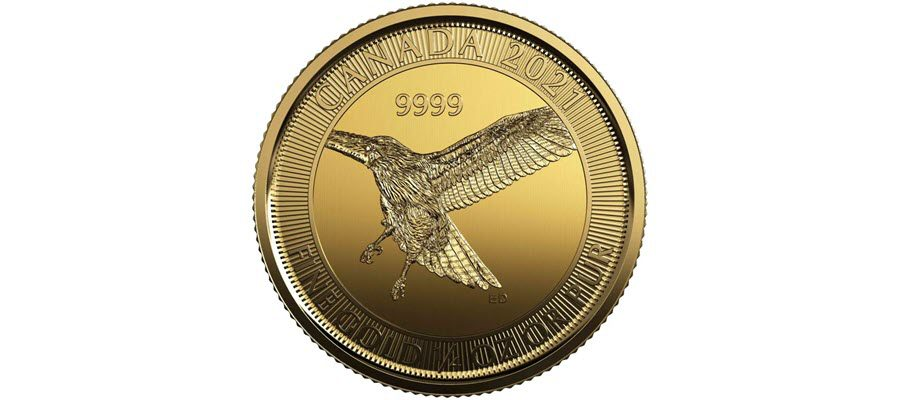 2021-10-oz.-99.99-Pure-Gold-Coin-Red-Tailed-Hawk-Reverse